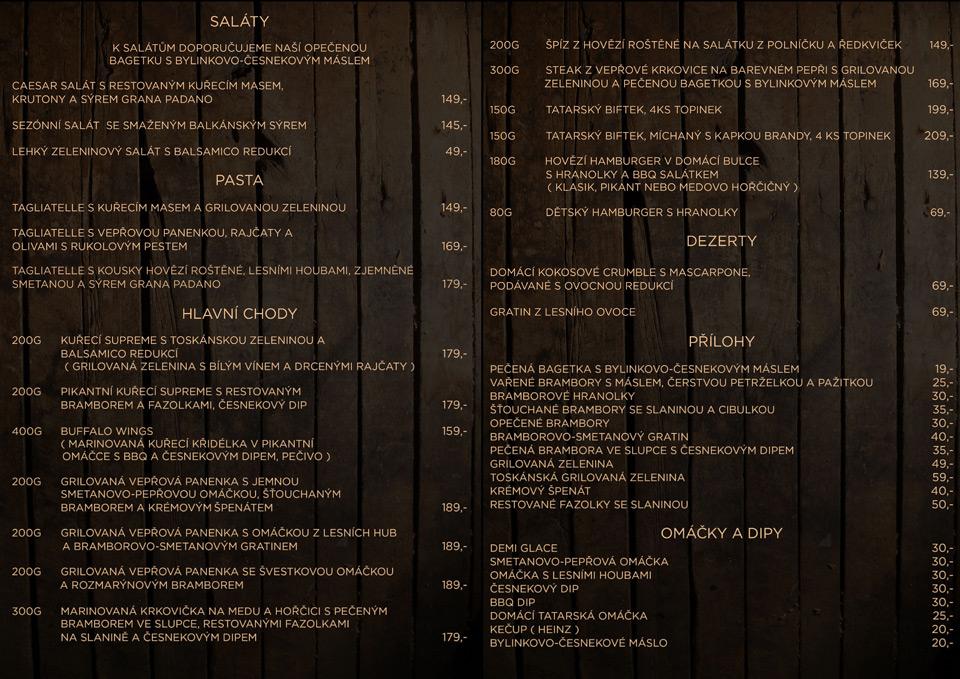 Jídelní lístek - Luna restaurace, Litoměřice